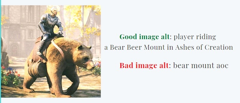 examples of good and bad image alts for an image of a player riding Bear Beer Mount in Ashes of Creation
