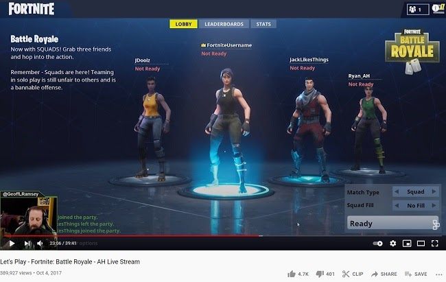 Fortnite characters - a fragment of let's play on youtube
