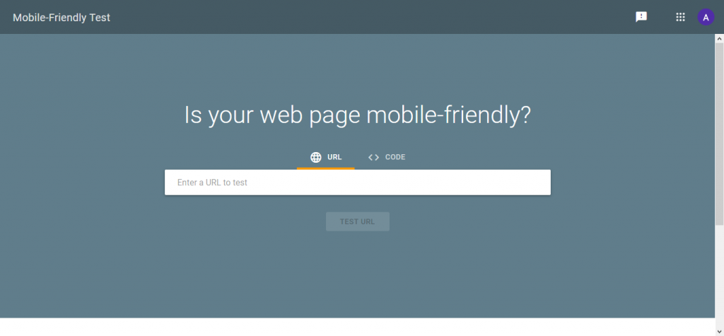 Google Mobile-Friendly test window from Google Analytics