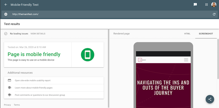 Google Mobile-Friendly Test The Manifest is Mobile Friendly
