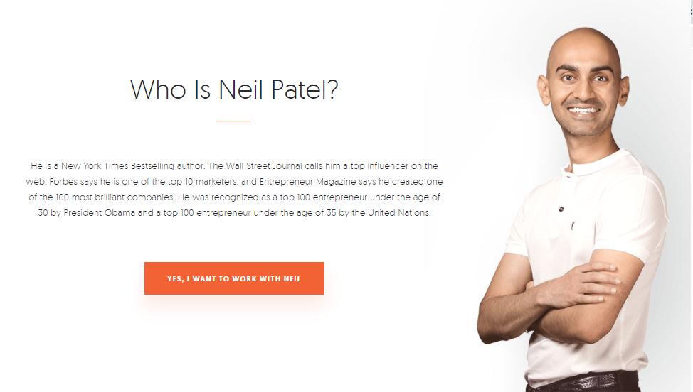 Neil Patel homepage