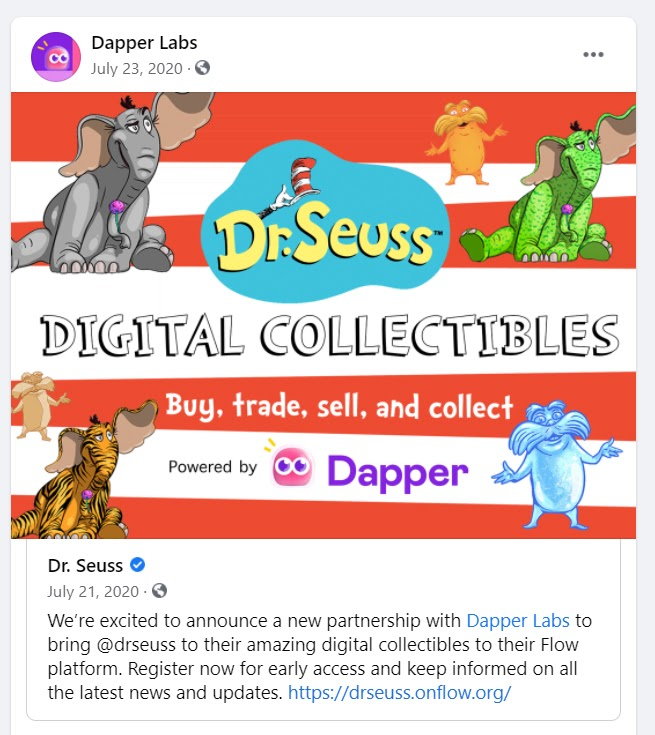 Dapper Labs Facebook post to get quality traffic