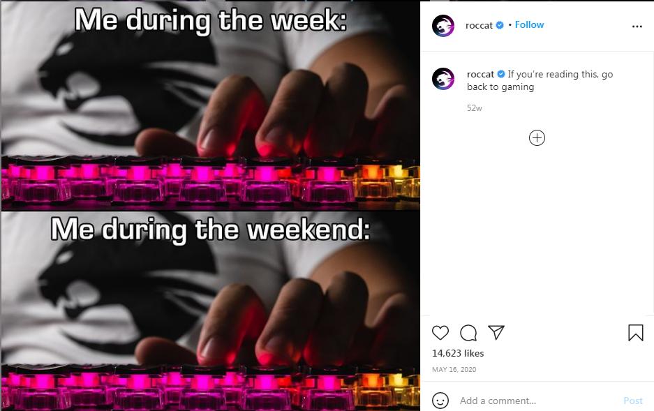 Roccat Instagram meme post showing the keen gamer