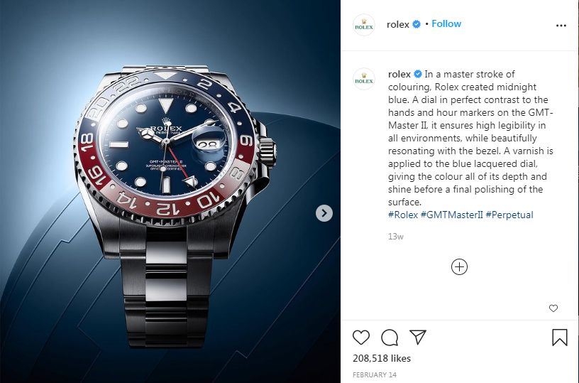 Rolex Instagram post showing one of their watches