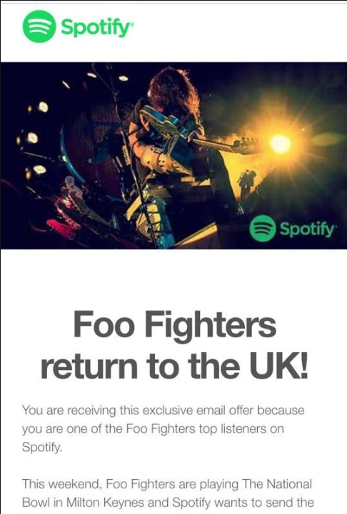 Spotify personalized newsletter that's driving traffic to their app