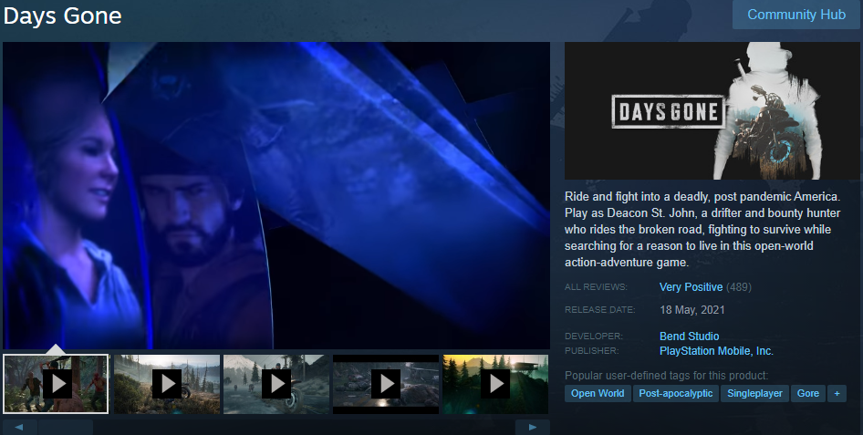 Steam 'Days Gone' selling page with product videos included
