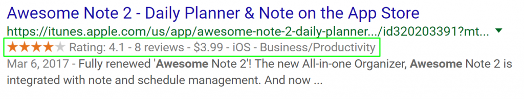 """Itunes URL link in rich snippets showing the relevant result to query """"awesome note 2"""""""