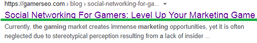 """GamerSEO article """"Social Networking for Gamers"""" with underlined title meta tags"""