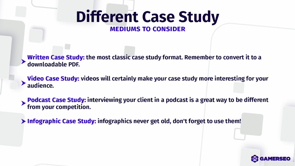 video, document, pdf, and other forms to present case studies