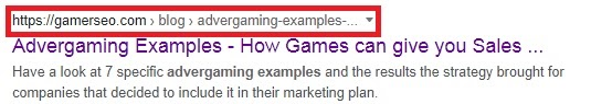 """GamerSEO article """"Advergaming Examples"""" in Google SERPs with URL circled in red"""