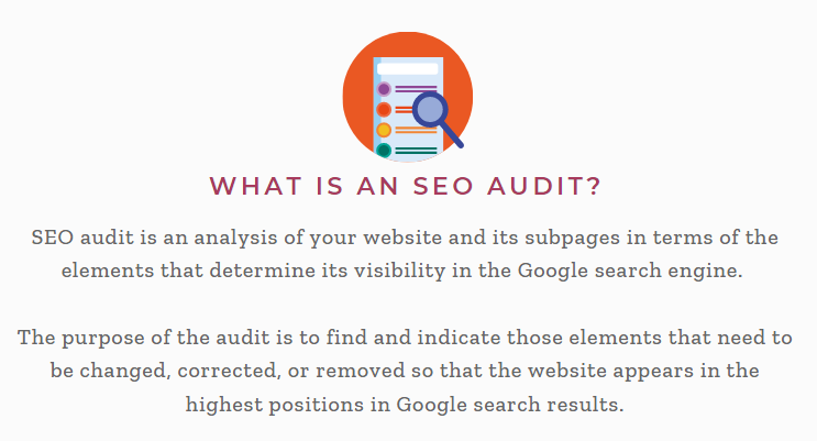infographics explaining the definition of SEO audit process