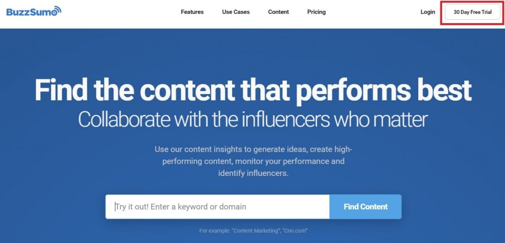 buzzsumo page screenshot - a tool that helps spying on your competition content strategy