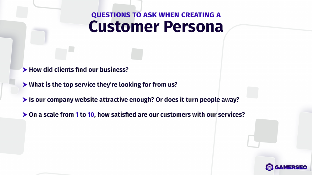 creating a persona based on customer type and customer perspective