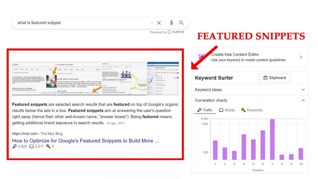 Featured Snippets to rank higher in SERPs