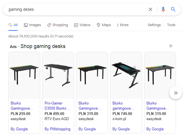 """image ads of all the websites that rank for query """"gaming desks"""" with their ad copy"""