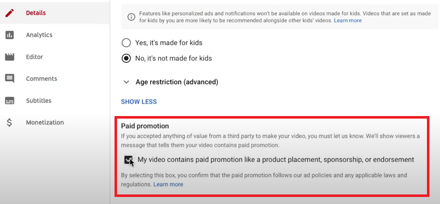 paid promotion disclaimer that advertisers must check on YouTube