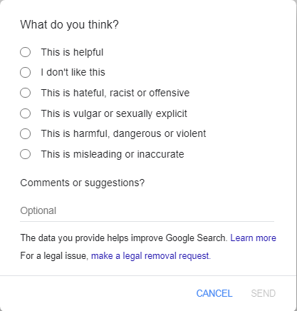 """available report options after clicking """"feedback"""" in google"""