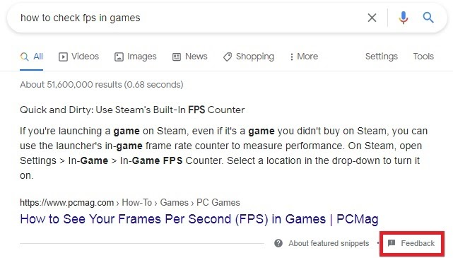 """featured snippet from pcmag on the query """"how to check fps in games"""" with """"feedback"""" marked in red"""