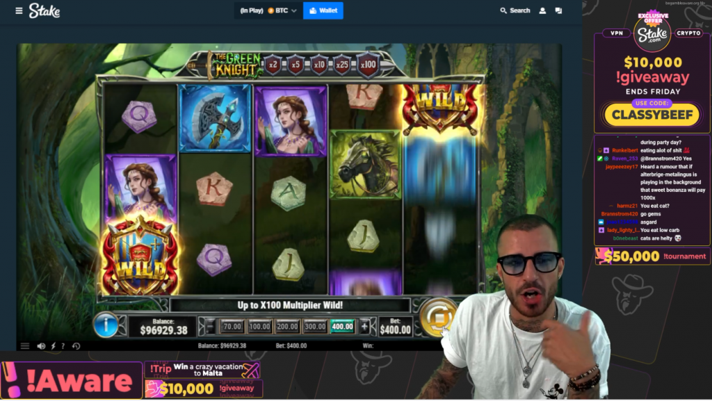 twitch stream of user ClassyBeef playing slots with branding ads on screen