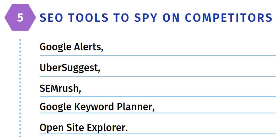 5 SEO tools to spy on competitors: Google Alerts, Ubersuggest, SEMrush, Google Keyword Planner. Open Site Explorer.