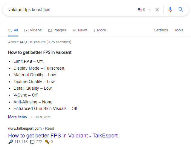 keyword s and blog posts results on Valorant