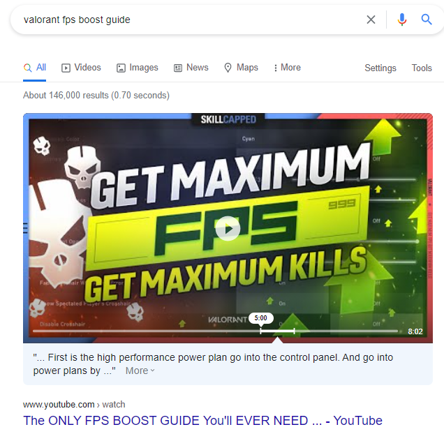 keyword result when searching for videos and not blogs