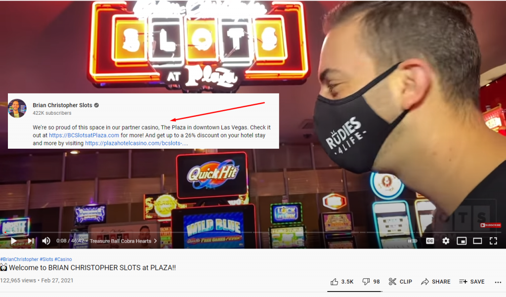 Brian Christopher YouTube video about slots at Plaza