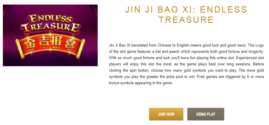 Jin Ji Bao XI: Endless Treasure description on caesarscasino.com