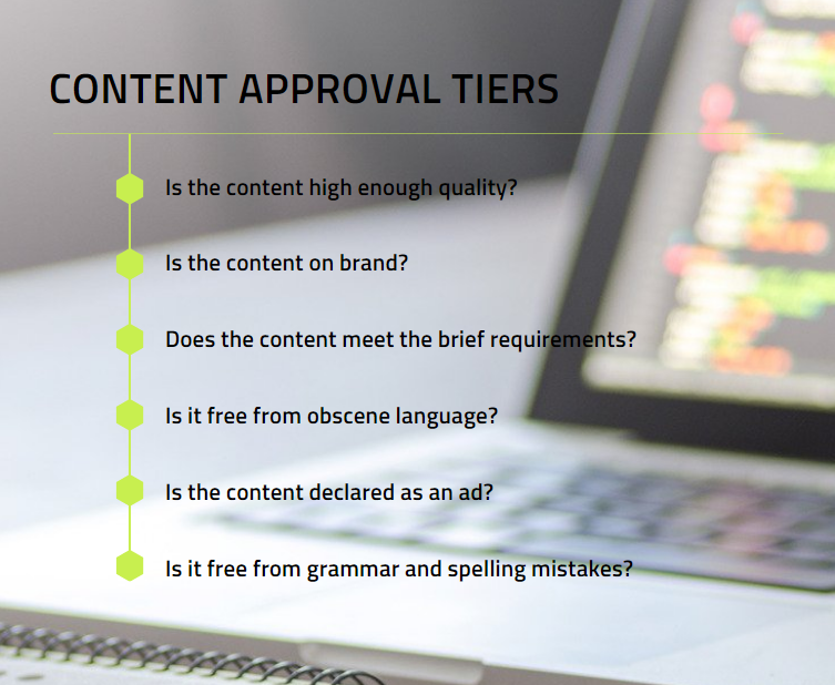 steps that original content has to go through before becoming approved content