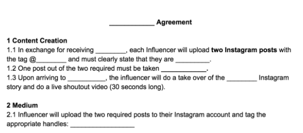 influencer content requirements and deliverables in legal documents