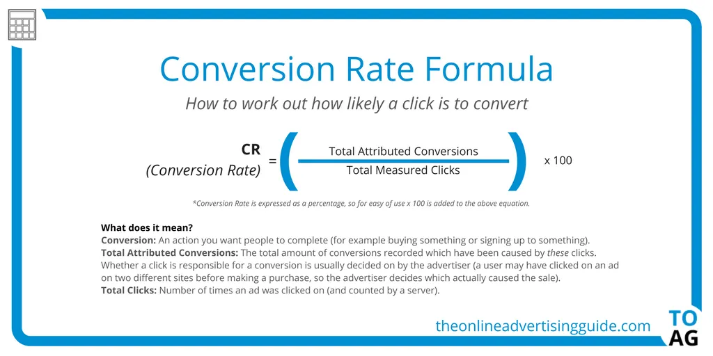 the formula to calculate the rate of conversions for your pages