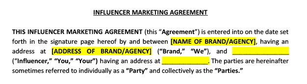 standard agreement terms in brand ambassador contract