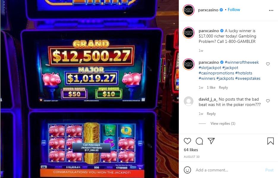 parxcasino Instagram post about big winners