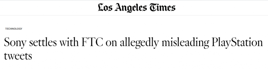LA Times headline about FTC's legal action against Sony