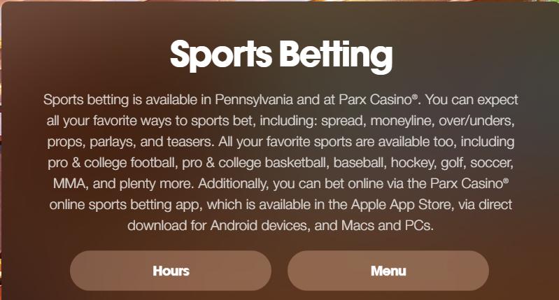 sports betting description on Parx Casino